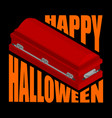 Happy halloween coffin and typography for vector image