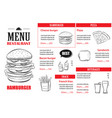fast food menu design template restaurant or cafe vector image