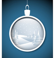 Christmas bauble with snowy landscape vector image vector image