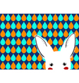 White Rabbit Blue Green Orange Drops Background vector image