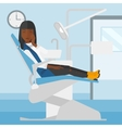 Woman suffering in dental chair vector image