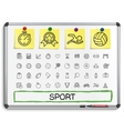 Sport hand drawing line icons vector image