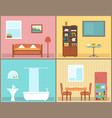 furnishing interior rooms on home interior view vector image
