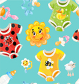 Seamless background of children clothes and toys vector image vector image