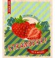 Strawberry retro poster vector image