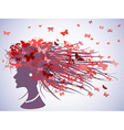 woman profile with butterflies hair vector image vector image