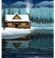 winter landscape with mountain lake vector image