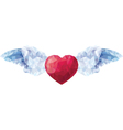 Heart with angel wings in the style of a low poly vector image vector image