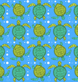 Sketch sea turtle pattern vector image