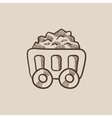 Mining coal cart sketch icon vector image vector image