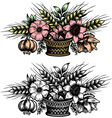 Bouquet of flowers in the basket vector image