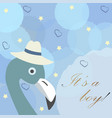 baby boy birth announcement cute bird announces vector image