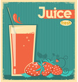 red strawberry juice on card background vintage vector image