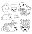 Set of cute rabbits vector image