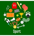 Sport symbols and sporting items round badge vector image