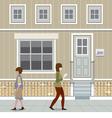 People Walking Down The Street vector image