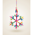 Merry Christmas snowflake multicolors hanging vector image