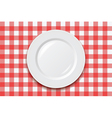 cooking tablecloth and empty plate vector image