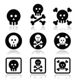Death skull with bones icons set vector image vector image