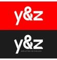 letter Y and Z logo paper set background vector image