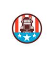 Truck USA Flag Circle Retro vector image vector image