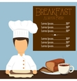 Breakfast always fresh menu chef bread coffee vector image