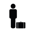 man icon with travel bag vector image
