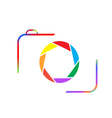 Multicolored camera on a white background vector image