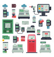payment machine pos banking terminal and vector image