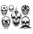 set of six different skulls for design vector image