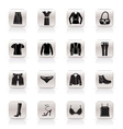 simple clothing and dress icons vector image