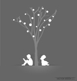 Tree background with children reading vector image