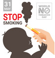 world no tobacco day poster for stop smoking vector image