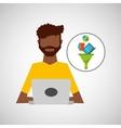 afro man working laptop data analytics vector image
