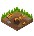 construction quarry with excavators and equipment vector image