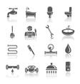 Plumbing tools pictograms set vector image