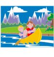youths in a canoe vector image vector image