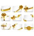 Beautiful cards with gold bows vector image