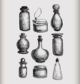 Vintage jars and bottles vector image