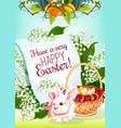 easter egg hunt rabbit greeting card design vector image