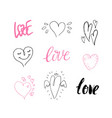 hand drawn cute hearts valentine day design vector image