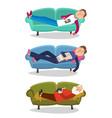 man sleep on sofa sleeping vector image