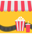 Popcorn and soda with straw Film strip Cinema icon vector image