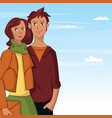 young couple cartoon over sky background vector image