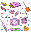 doodle of candy various cartoon style vector image