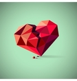 Broken heart consisting of triangles with pieces vector image