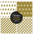 christmas golden patterns set 3 vector image