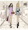 Beauty girls shopping with background vector image