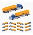 Blue truck with the orange fuel tank vector image