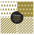 christmas golden patterns set 3 vector image